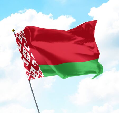 National Flag of Belarus Raised Up with Sky and Clouds in Background 版權商用圖片