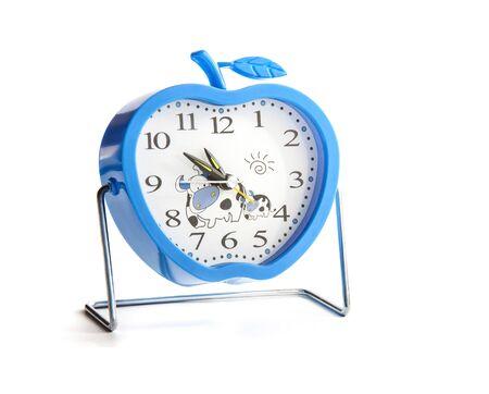 Blue Funny Kids Alarm Clock Isolated on White Background