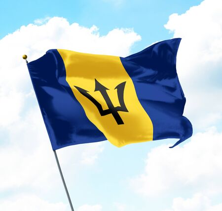 National Flag of Barbados Raised Up with Sky and Clouds in Background 版權商用圖片