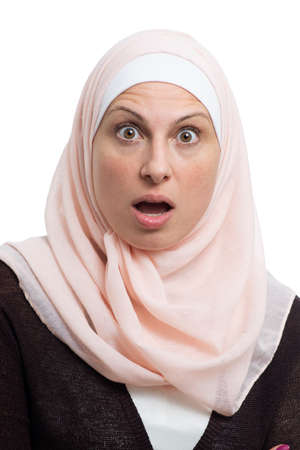 Beautiful Muslim Woman Worried over White Background