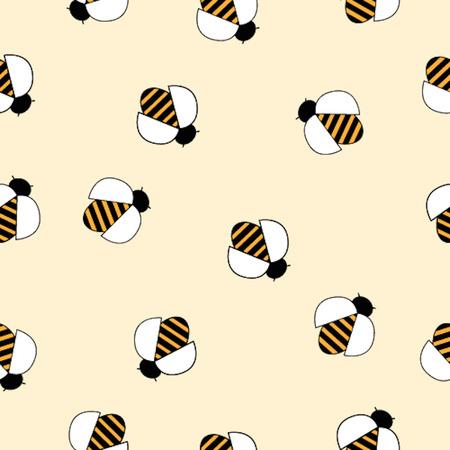 abeja caricatura: Patrón sin fisuras con la imagen de las abejas lindo sobre fondo claro.