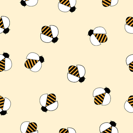 cartoon insect: Seamless pattern with the image of cute bees on light background. Illustration