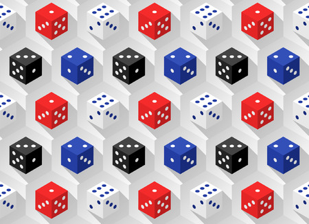 rouge et bleu: Red, blue, white and black casino dice with long shadows on a hexagonal background. Seamless pattern. Vector illustration.