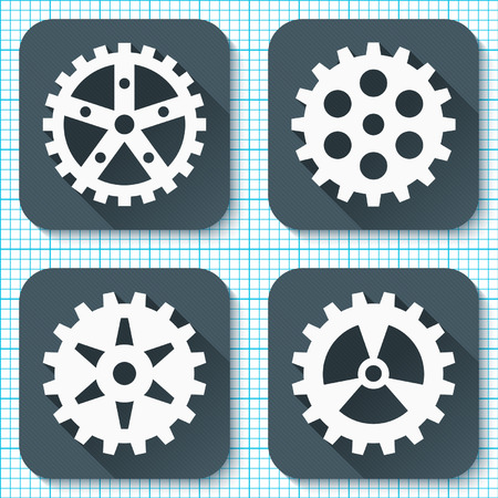 millimeter: Set of four flat gear icons with long shadows on a millimeter engineering paper background. Vector illustration. Illustration