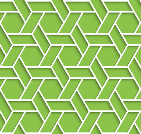 tillable: Volumetric geometric green and white background with outline extrude effect. Based on islamic ethnic ornaments. Abstract 3d seamless background. Vector illustration. Illustration