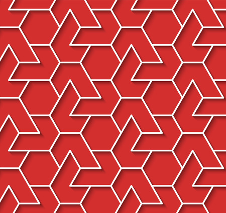 volumetric: Volumetric geometric red and white background with outline extrude effect. Based on islamic ethnic ornaments. Abstract 3d seamless background. Vector illustration. Illustration