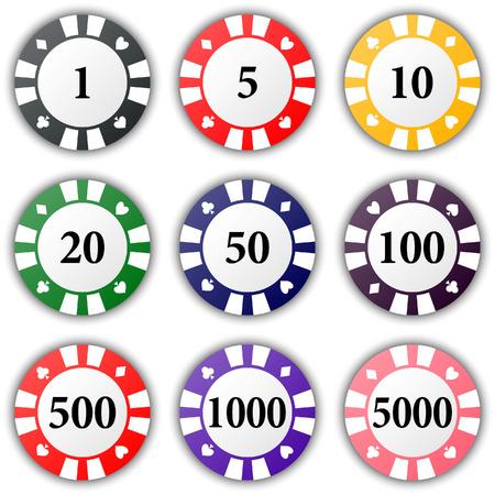 fichas de casino: Conjunto de coloridas fichas de casino en un fondo blanco. Ilustraci�n vectorial