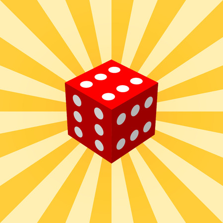 red dice: Big red dice on a yellow radial background. Vector illustration