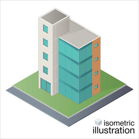 centre d affaires: Modern office building, business center in the isometric projection. Vector illustration on a white background. Illustration