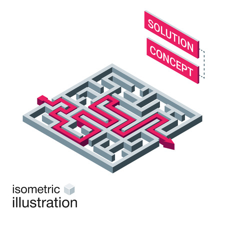 the maze: laberinto isom�trica, concepto de la soluci�n laberinto. plantilla de infograf�a moderna. ilustraci�n vectorial isom�trica.
