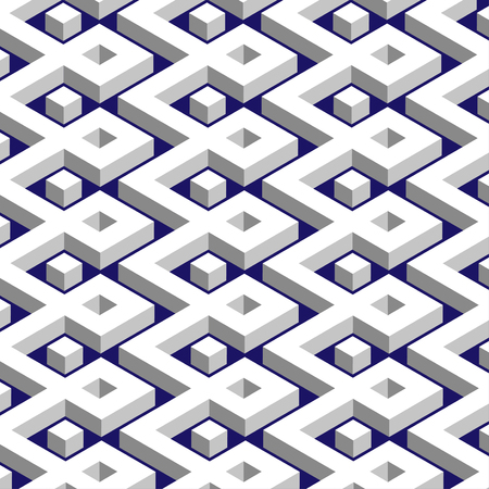 geometrical pattern: Isometric white grid on a dark blue background. Abstract geometrical pattern. Vector illustration.