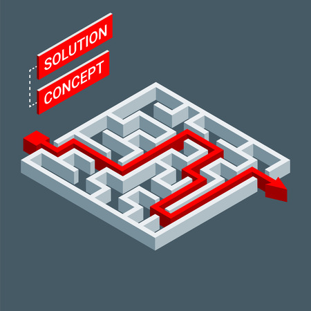 Isometric maze, labyrinth solution concept. Modern infographic template. Isometric vector illustration. Stock Illustratie