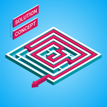 solution concept: Isometric maze, labyrinth solution concept. Modern infographic template. Isometric vector illustration. Illustration