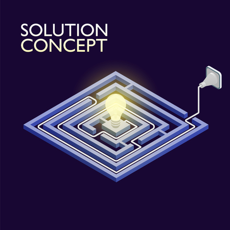 solution concept: Isometric maze with electric light, labyrinth solution concept. Modern infographic template. Isometric vector illustration. Illustration