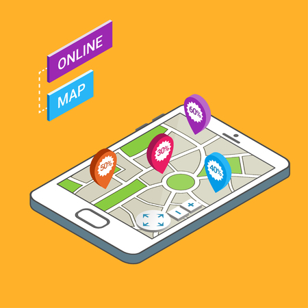 mobile app: 3D Smartphone with city map. Modern infographic template. Online map, mobile navigation app.  Illustration