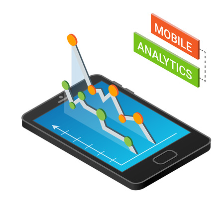 rate: 3D Smartphone with graphs in the isometric projection isolated on a white background.  Mobile analytics concept. Modern infographic template. Isometric vector illustration.