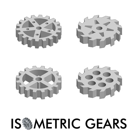 interlock: Set of four isometric gears isolated on a white background. Isometric vector illustration. Set of 3D icons. Illustration