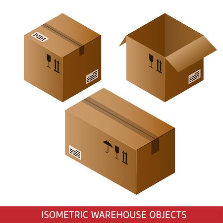 storage facility: Set of isometric cardboard boxes isolated on white background. 3D warehouse objects. Isometric vector illustration.