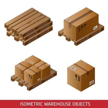 아이소 메트릭 판지 상자와 흰색에 고립 된 팔레트의 집합입니다. 3D웨어 하우스 장비. 산업 팔레트웨어 하우스 상자.