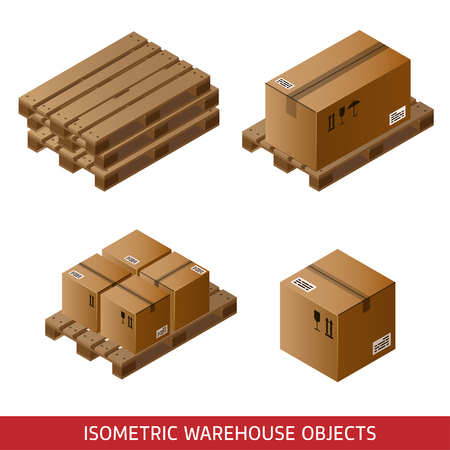 Set of isometric cardboard boxes and pallets isolated on white. 3D warehouse equipment. Industrial pallets and boxes for warehouse. Illustration