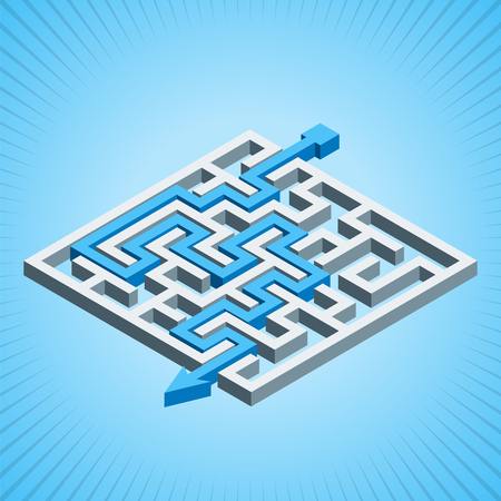 Isometric maze, labyrinth solution concept on a blue radial background. Modern infographic template. Isometric vector illustration.