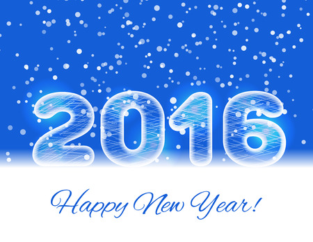 coldness: 2016 ice text on a blue background with a falling snow. 2016 New year card. New year design template. Vector illustration.