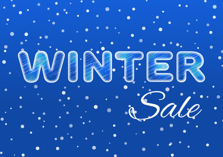 winter sale: Winter sale ice text on a blue background with a falling snow. Sale and discount theme. Vector illustration. Illustration