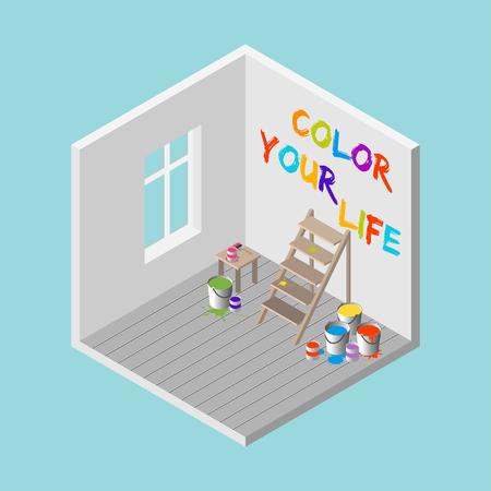 ladder: 3D room with ladder, paint buckets, paintbrush and Color You Life colorful text on the wall. Isometric vector illustration.