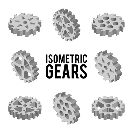 engineering concept: Set of eight isometric gears isolated on a white background. Isometric vector illustration. Set of 3D techno icons. Details of the mechanism. Engineering concept.