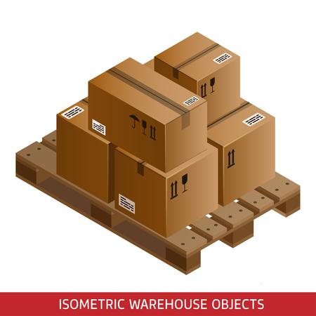 Conjunto de cajas de cartón y paletas isométricos. equipos de almacén 3D. palets industriales y cajas para almacén. paquetes isométricos.