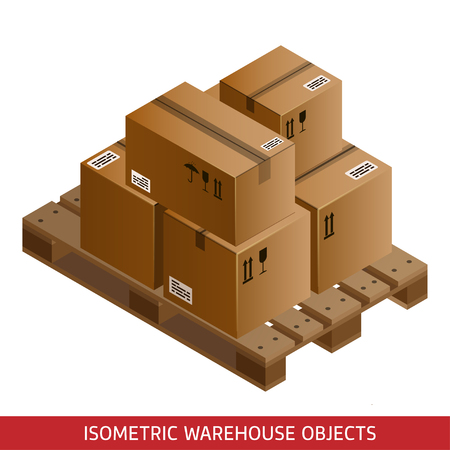 Set of isometric cardboard boxes and pallet. 3D warehouse equipment. Industrial pallets and boxes for warehouse. Isometric packages. Illustration