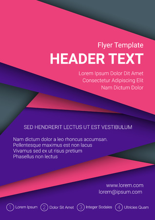 blank brochure: Vector pink and purple flyer template on a dark grey background. Modern poster business template in A4 size. Vector illustration.