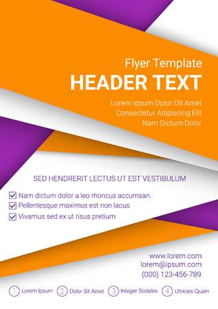Vector orange and white flyer template on a purple background. Modern poster business template in A4 size. Vector illustration.