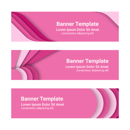 Set of modern horizontal vector banners in a material design style.