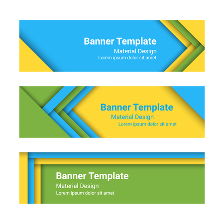 horizontal: Set of modern horizontal vector banners in a material design style.