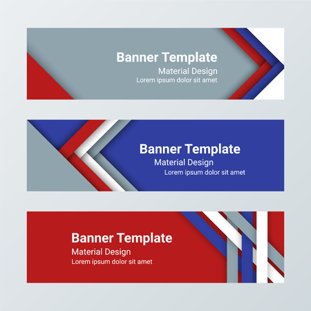 Set of modern horizontal vector banners, page headers in a material design style. Can be used as a business template or in a web design. Vector illustration. Иллюстрация