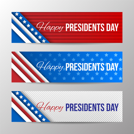 horizontal: Set of modern vector horizontal banners, page headers with text for Presidents Day. Banners with stripes and stars in the colors of the American flag.