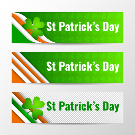 vector banners or headers: Set of modern vector horizontal banners, page headers with text for St Patricks Day. Vector illustration. Illustration