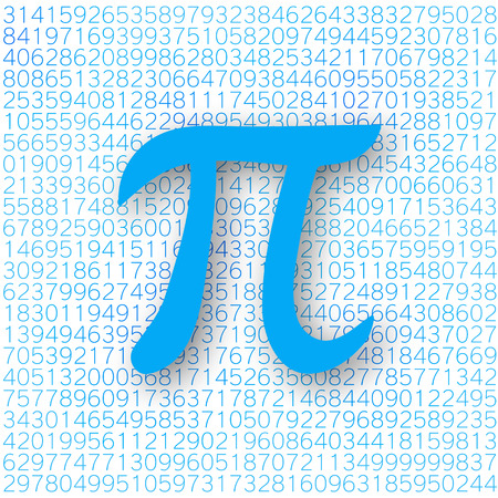 Blue Pi number with a shadow on a white background. Pi sign,  mathematical constant, irrational number, greek letter. Abstract digital vector illustration.
