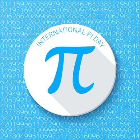 파란색 배경에 그림자와 함께 파이 기호입니다. 수학 상수, 무리수, 그리스 문자. 파이의 날 추상 디지털 벡터 일러스트 레이 션.