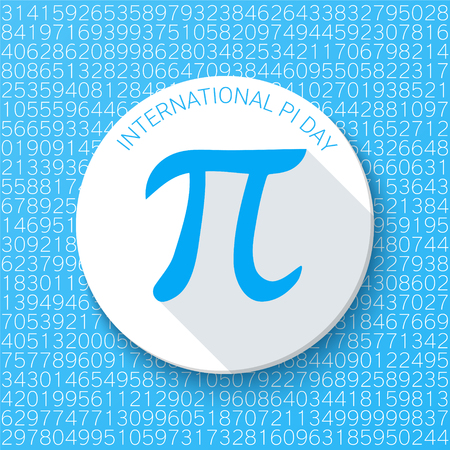 constant: Pi sign with a shadow on a blue background. Mathematical constant, irrational number, greek letter. Abstract digital vector illustration for a Pi Day.