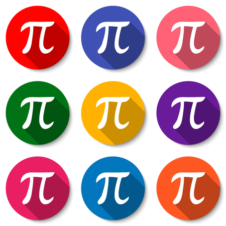 Set of colorful flat icons with Pi sign. Mathematical constant, irrational number, greek letter. Abstract vector illustration for a Pi Day.
