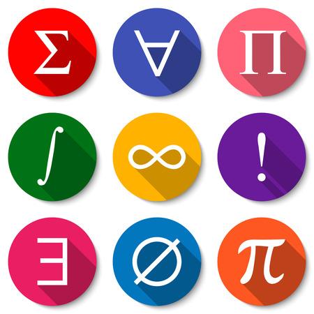 Symboles mathématiques. Jeu de couleurs icônes mathématiques plat avec de longues ombres. Summation, quantification universelle, produit, intégrale, infini, factorielle, quantification existentielle, ensemble vide, signe de pi.