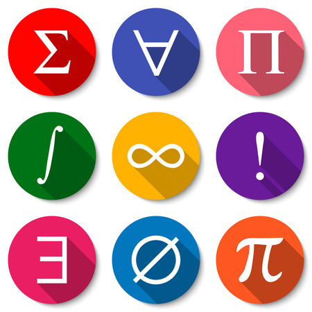 Mathematical Symbols. Set of colorful flat math icons with long shadows. Summation, universal quantification, product, integral, infinity, factorial, existential quantification, empty set, pi sign.