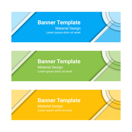 vector banners or headers: Material design banners. Set of modern colorful horizontal vector banners, page headers. Can be used as a trendy business template or in a web design. Vector illustration.