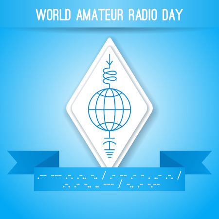morse code: World Amateur Radio Day. Blue and white illustration. Ham radio symbol, circuit diagram with antenna, inductor and ground. Morse code