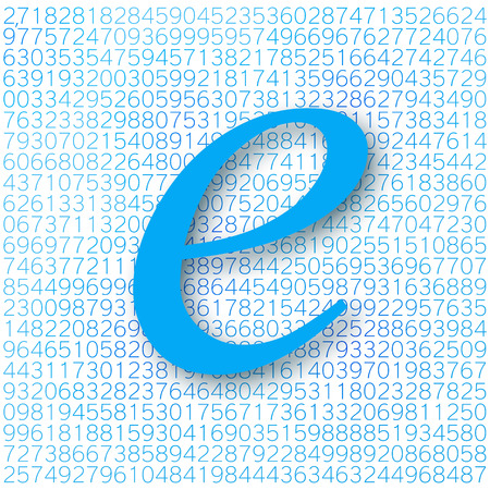 geniality: Eulers number with a shadow on a digital background. Mathematical constant, decimal irrational number, base of the natural logarithm. Illustration