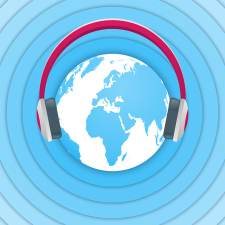 radio broadcasting: World Amateur Radio Day. Blue and white illustration with a globe, headphones and radio waves. Radio broadcasting. Illustration