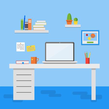 work space: Flat design illustration of modern office interior. Creative office work space with computer, notes, folders, books, plants, mug. Flat minimalistic style and color Illustration