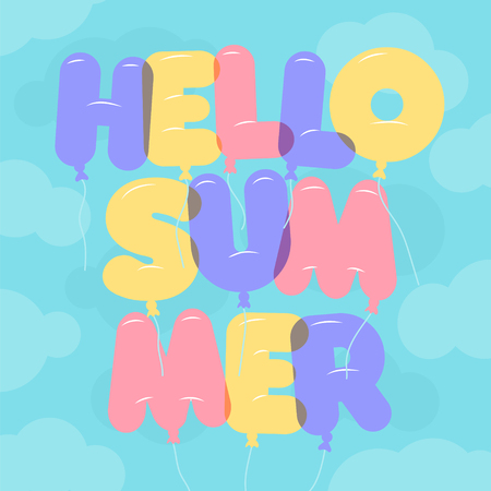 bubble letters: Balloon Lettering, colorful Hello Summer text. Rounded, semi-transparent, bubble letters on a blue sky background with clouds. illustration. Summer and vacation theme.